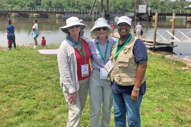 Teaching fishing skills to young people and their parents at the AREC in Anacostia Park, DC